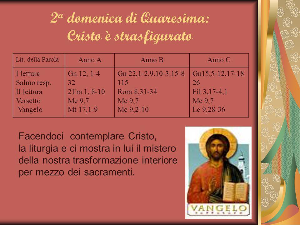 2 a domenica di Quaresima: Cristo è strasfigurato Lit. della Parola Anno AAnno BAnno C I lettura Salmo resp. II lettura Versetto Vangelo Gn 12, 1-4 32