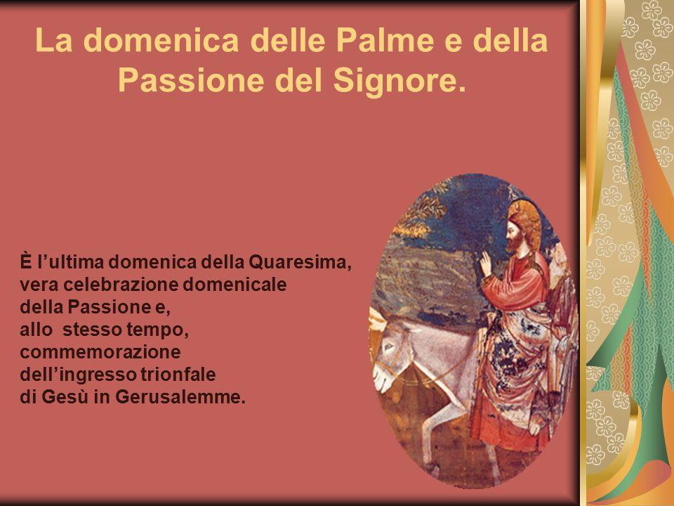 La domenica delle Palme e della Passione del Signore. È l'ultima domenica della Quaresima, vera celebrazione domenicale della Passione e, allo stesso