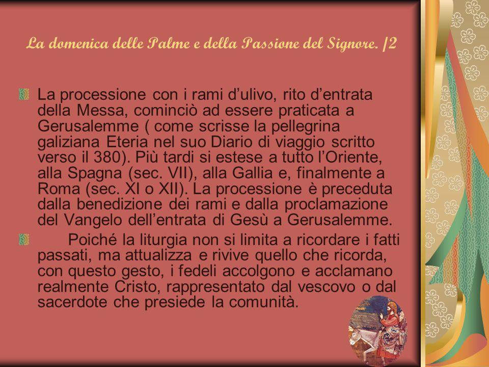 La domenica delle Palme e della Passione del Signore. /2 La processione con i rami d'ulivo, rito d'entrata della Messa, cominciò ad essere praticata a