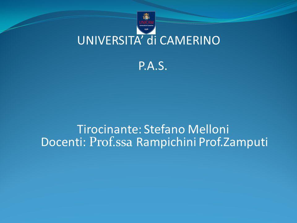 UNIVERSITA' di CAMERINO P.A.S. Tirocinante: Stefano Melloni Docenti: Prof.ssa Rampichini Prof.Zamputi