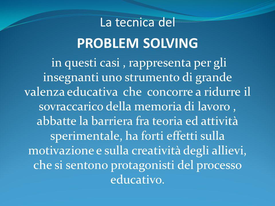 La tecnica del PROBLEM SOLVING in questi casi, rappresenta per gli insegnanti uno strumento di grande valenza educativa che concorre a ridurre il sovr