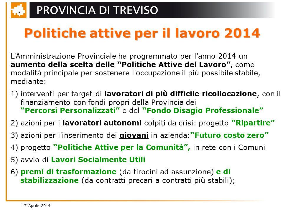 17 Aprile 2014 3 Politiche attive per il lavoro 2014 – somme stanziate
