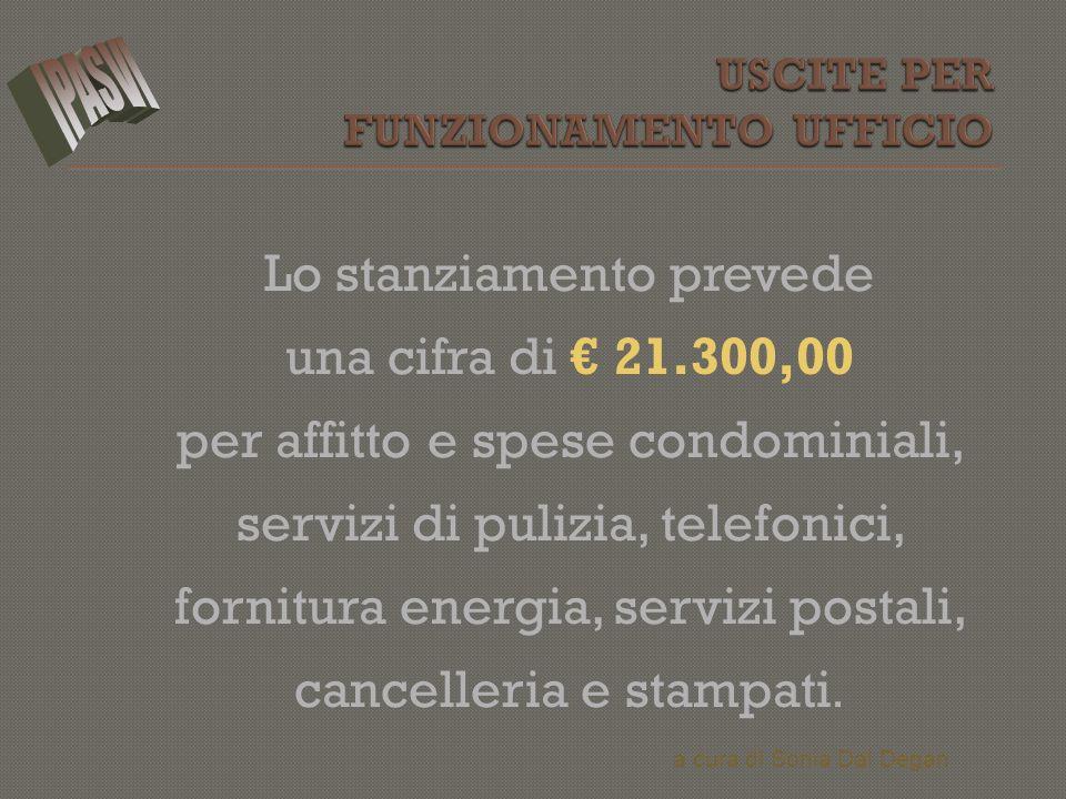 Lo stanziamento prevede una cifra di € 21.300,00 per affitto e spese condominiali, servizi di pulizia, telefonici, fornitura energia, servizi postali,
