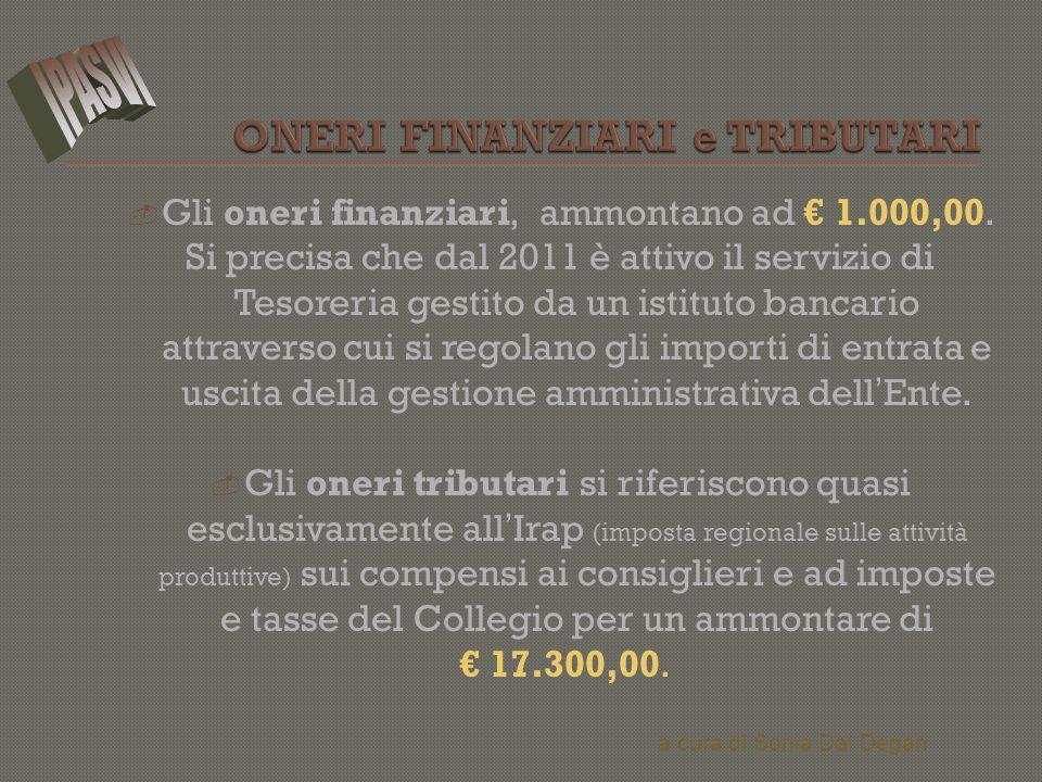  Gli oneri finanziari, ammontano ad € 1.000,00. Si precisa che dal 2011 è attivo il servizio di Tesoreria gestito da un istituto bancario attraverso