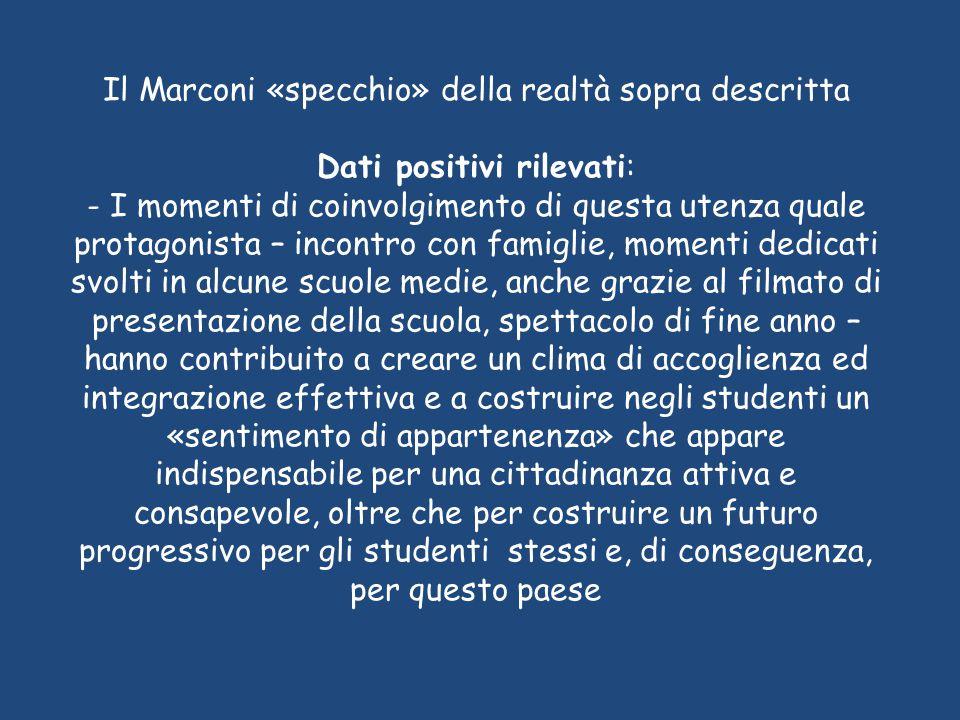 Il Marconi «specchio» della realtà sopra descritta Dati positivi rilevati: - I momenti di coinvolgimento di questa utenza quale protagonista – incontr