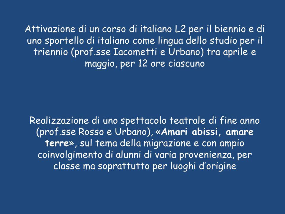 Attivazione di un corso di italiano L2 per il biennio e di uno sportello di italiano come lingua dello studio per il triennio (prof.sse Iacometti e Ur