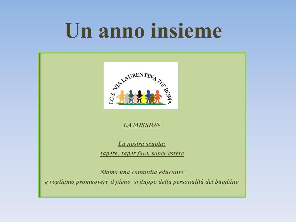 LA MISSION La nostra scuola: sapere, saper fare, saper essere Siamo una comunità educante e vogliamo promuovere il pieno sviluppo della personalità del bambino Un anno insieme
