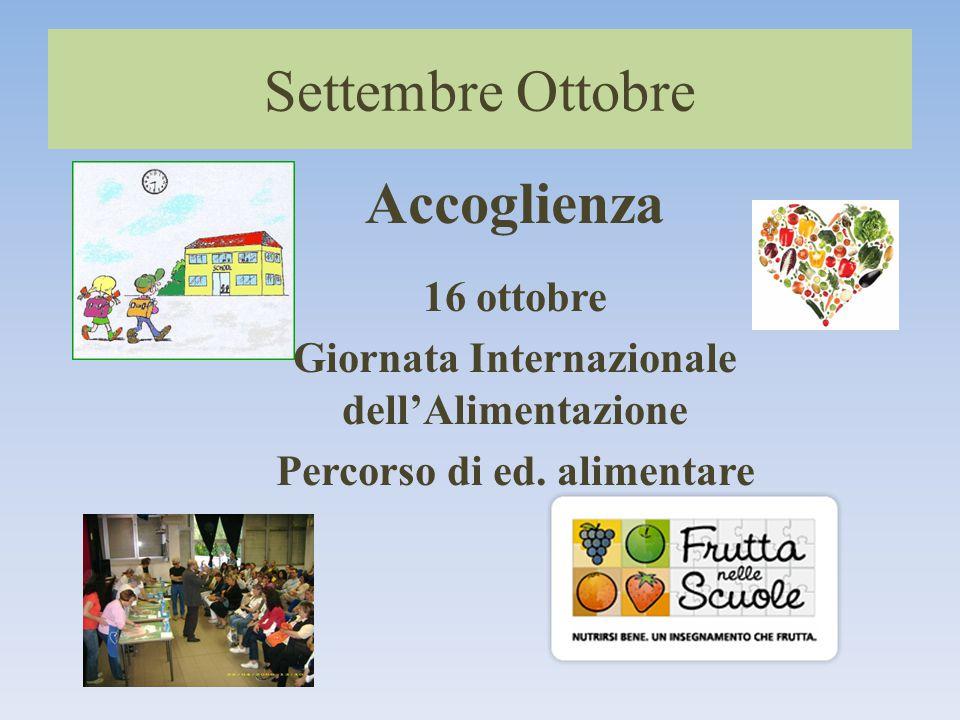 Settembre Ottobre Accoglienza 16 ottobre Giornata Internazionale dell'Alimentazione Percorso di ed.