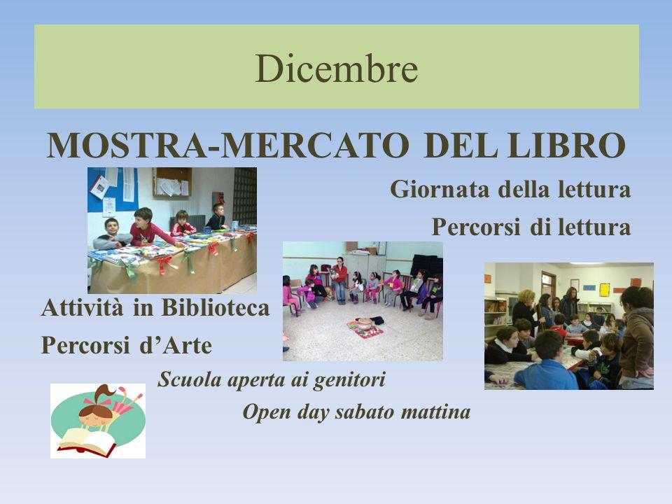 MOSTRA-MERCATO DEL LIBRO Giornata della lettura Percorsi di lettura Attività in Biblioteca Percorsi d'Arte Scuola aperta ai genitori Open day sabato mattina Dicembre
