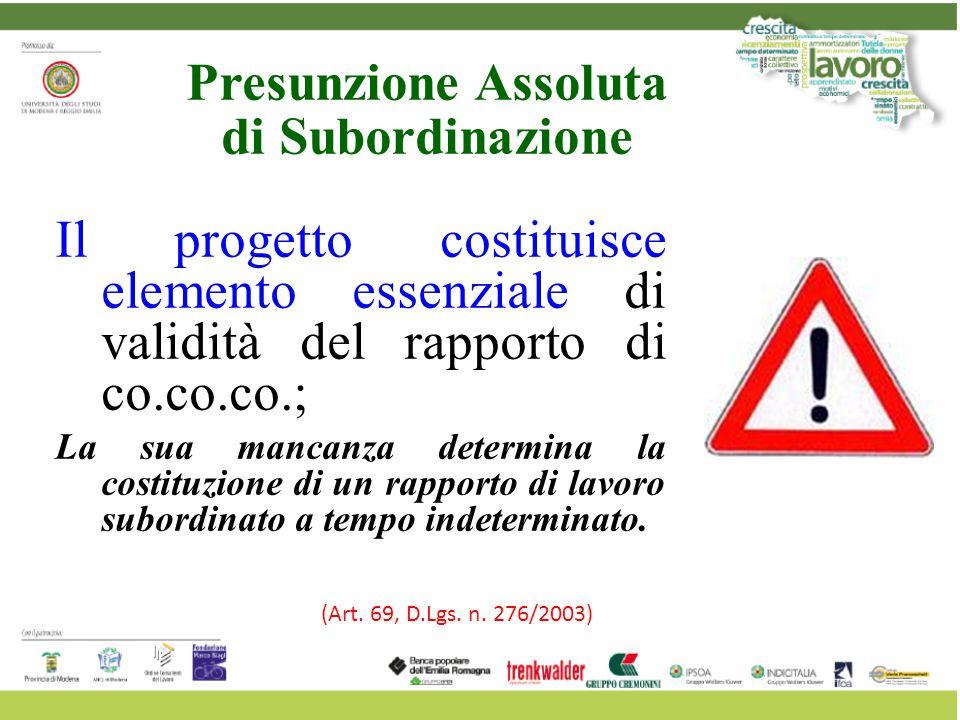 Il progetto costituisce elemento essenziale di validità del rapporto di co.co.co.; La sua mancanza determina la costituzione di un rapporto di lavoro
