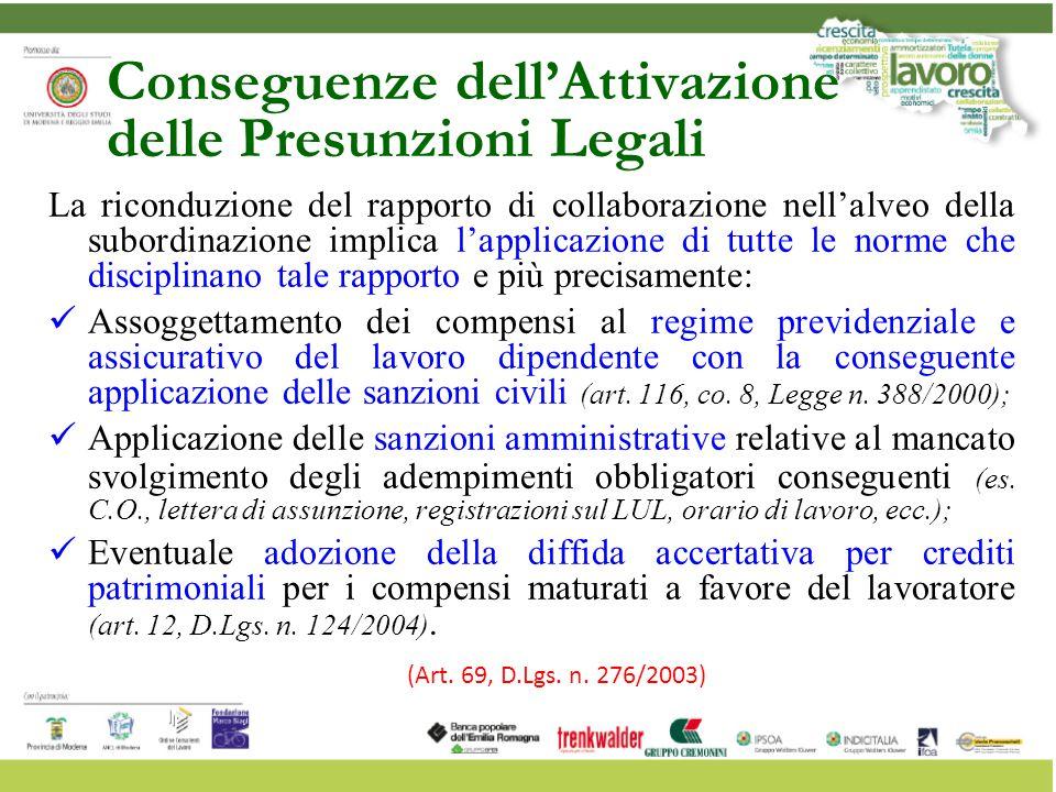 Conseguenze dell'Attivazione delle Presunzioni Legali La riconduzione del rapporto di collaborazione nell'alveo della subordinazione implica l'applica