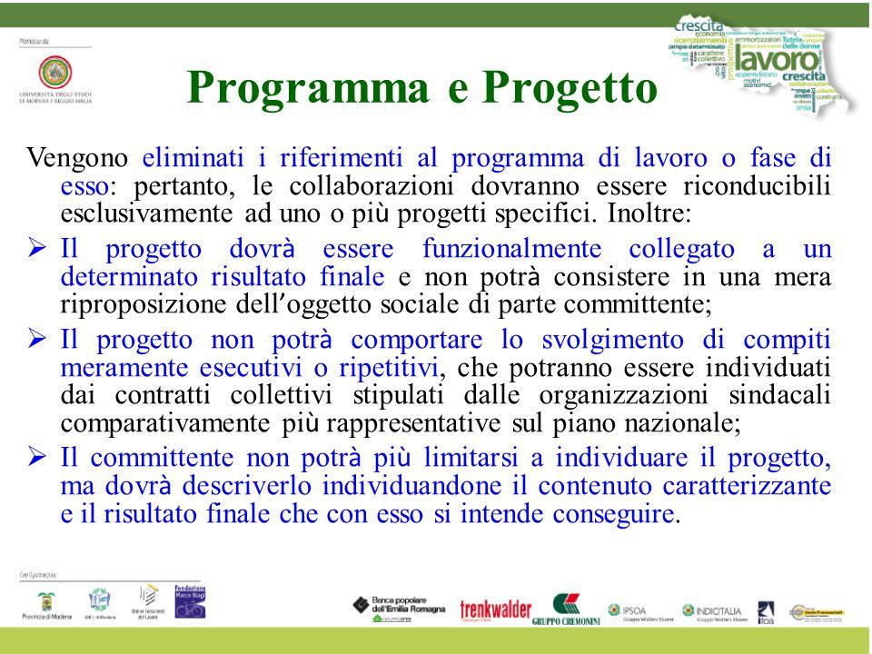 Programma e Progetto Vengono eliminati i riferimenti al programma di lavoro o fase di esso: pertanto, le collaborazioni dovranno essere riconducibili