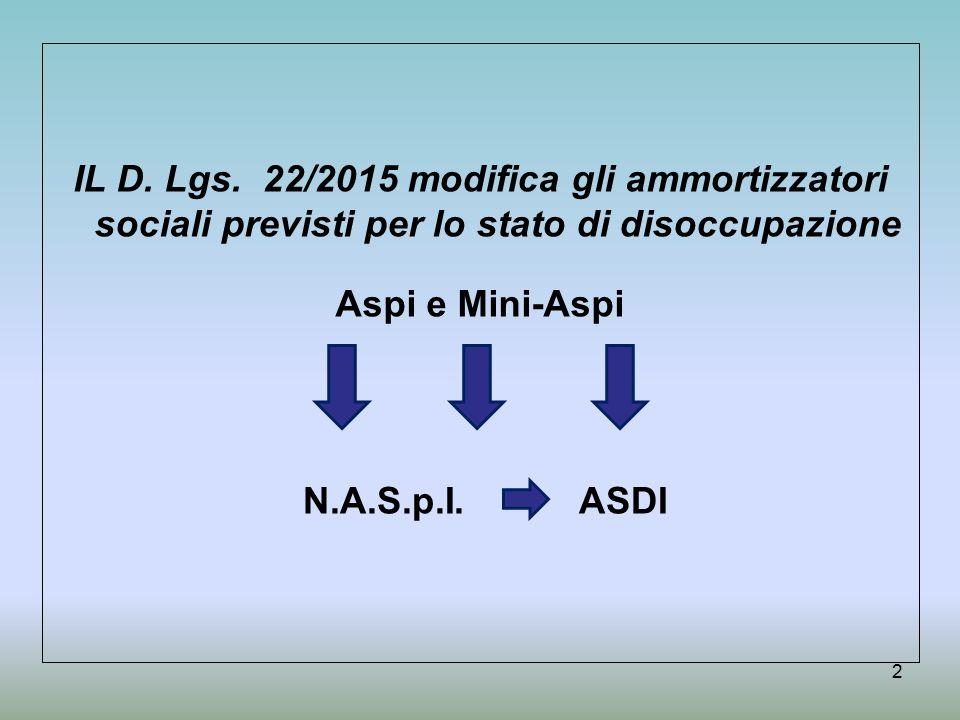 Le nuove tipologie dal 1 maggio 2015 3 NASPI Sostituisce l'attuale ASPI con regole diverse DIS-COLL Novità: ammortizzatore per i co.co.