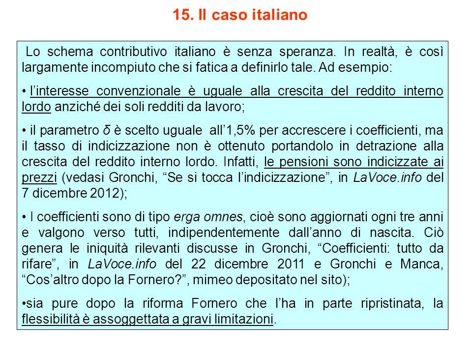 15. Il caso italiano Lo schema contributivo italiano è senza speranza.