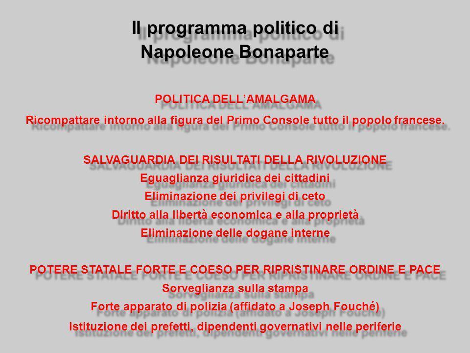 Il programma politico di Napoleone Bonaparte POLITICA DELL'AMALGAMA Ricompattare intorno alla figura del Primo Console tutto il popolo francese.