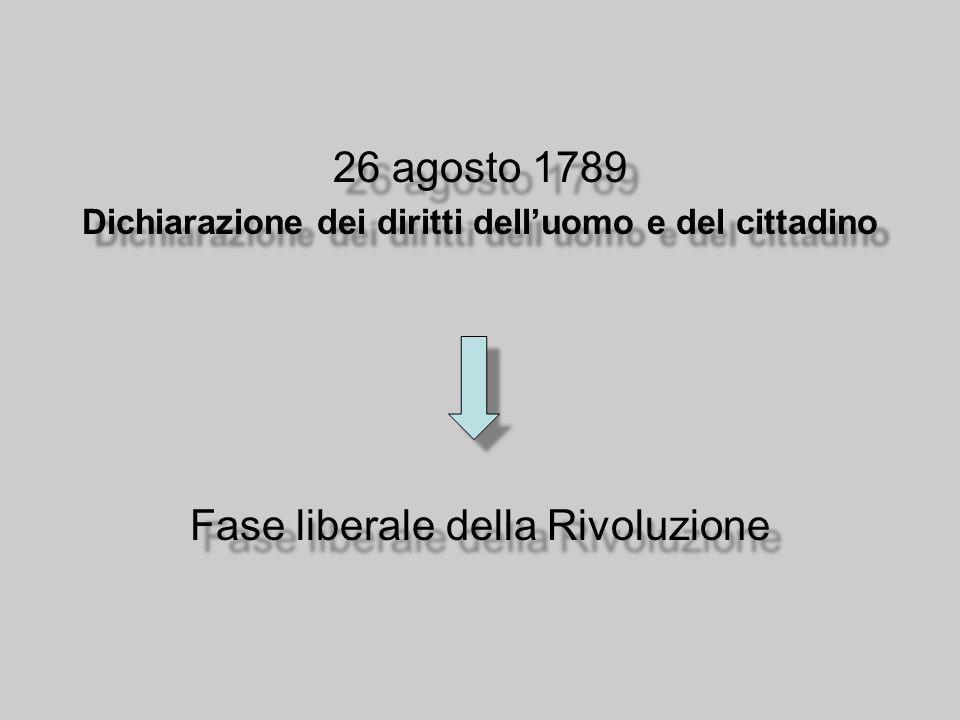 26 agosto 1789 Dichiarazione dei diritti dell'uomo e del cittadino Fase liberale della Rivoluzione 26 agosto 1789 Dichiarazione dei diritti dell'uomo e del cittadino Fase liberale della Rivoluzione