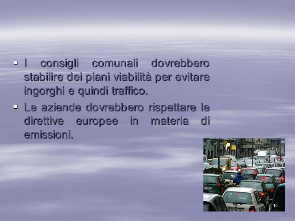  I consigli comunali dovrebbero stabilire dei piani viabilità per evitare ingorghi e quindi traffico.  Le aziende dovrebbero rispettare le direttive