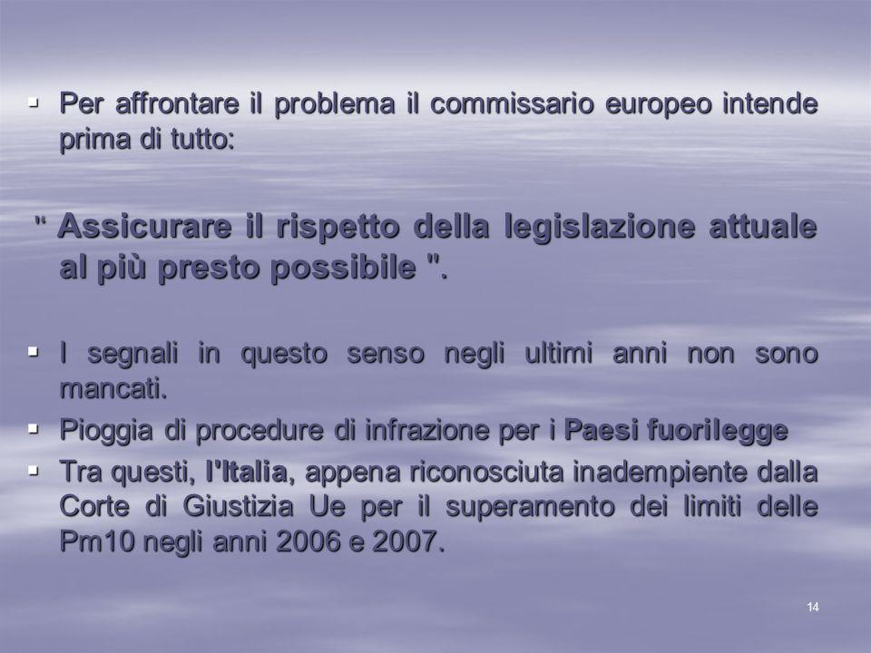  Per affrontare il problema il commissario europeo intende prima di tutto: '' Assicurare il rispetto della legislazione attuale al più presto possibi