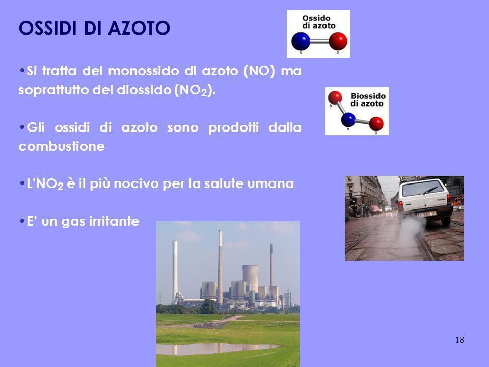 OSSIDI DI AZOTO Si tratta del monossido di azoto (NO) ma soprattutto del diossido (NO 2 ). Gli ossidi di azoto sono prodotti dalla combustione L'NO 2