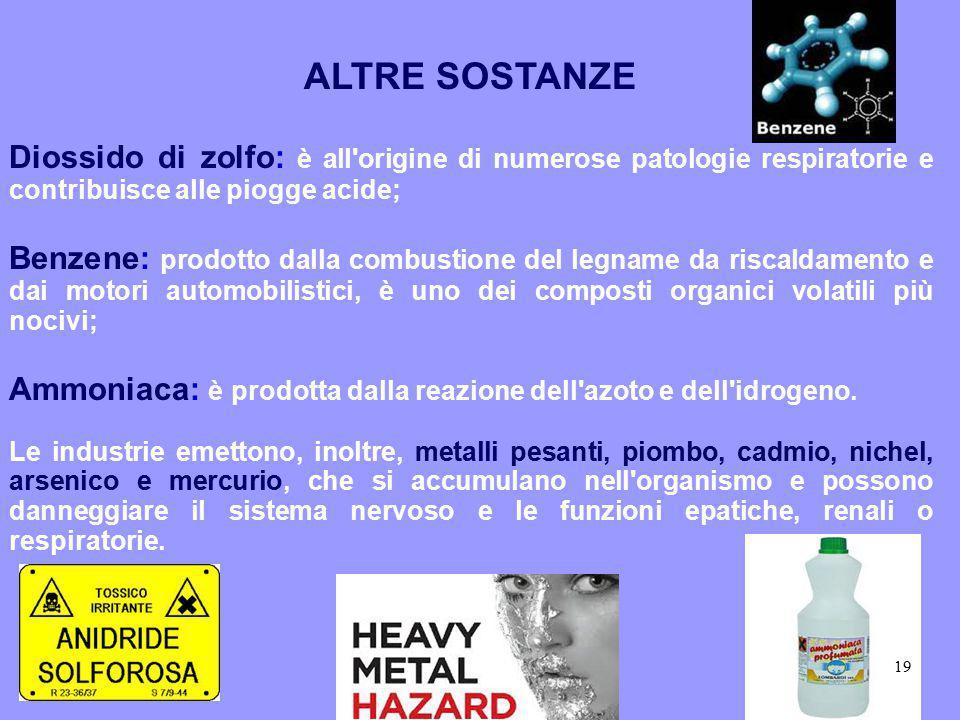 ALTRE SOSTANZE Diossido di zolfo: è all'origine di numerose patologie respiratorie e contribuisce alle piogge acide; Benzene: prodotto dalla combustio
