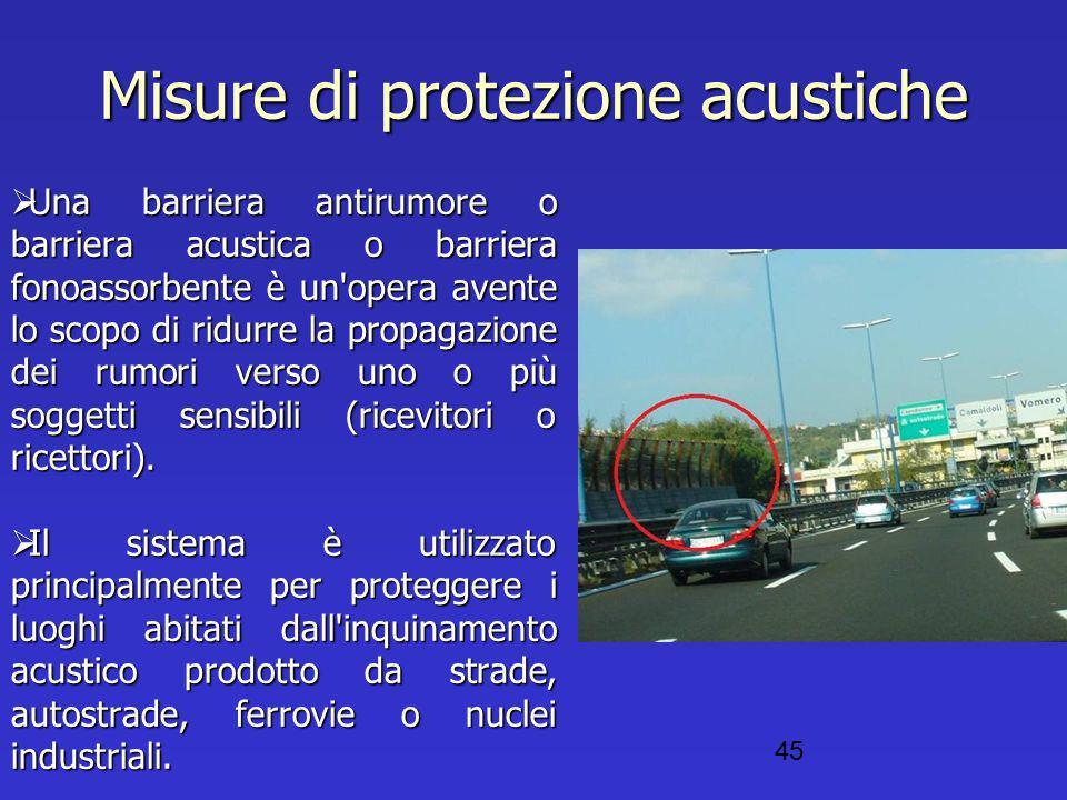 Misure di protezione acustiche  Una barriera antirumore o barriera acustica o barriera fonoassorbente è un'opera avente lo scopo di ridurre la propag