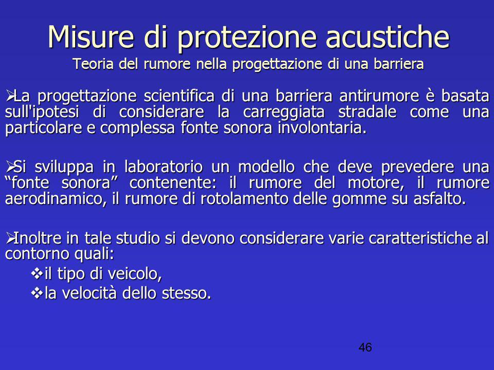 Misure di protezione acustiche Teoria del rumore nella progettazione di una barriera  La progettazione scientifica di una barriera antirumore è basat