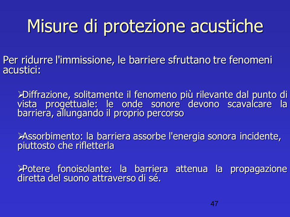 Misure di protezione acustiche Per ridurre l'immissione, le barriere sfruttano tre fenomeni acustici:  Diffrazione, solitamente il fenomeno più rilev