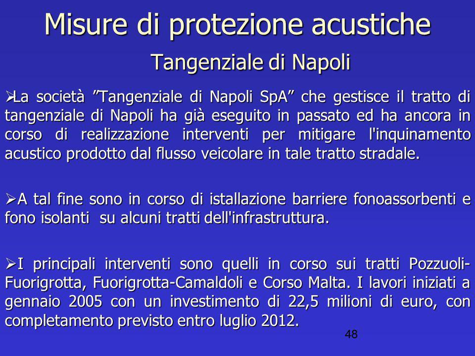 """Misure di protezione acustiche Tangenziale di Napoli  La società """"Tangenziale di Napoli SpA"""" che gestisce il tratto di tangenziale di Napoli ha già e"""