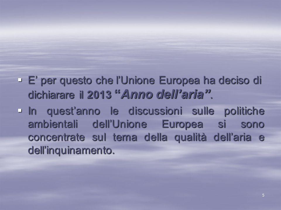""" E' per questo che l'Unione Europea ha deciso di dichiarare il 2013 """"Anno dell'aria"""".  In quest'anno le discussioni sulle politiche ambientali dell'"""