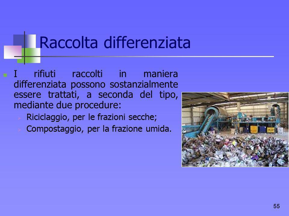 Raccolta differenziata I rifiuti raccolti in maniera differenziata possono sostanzialmente essere trattati, a seconda del tipo, mediante due procedure