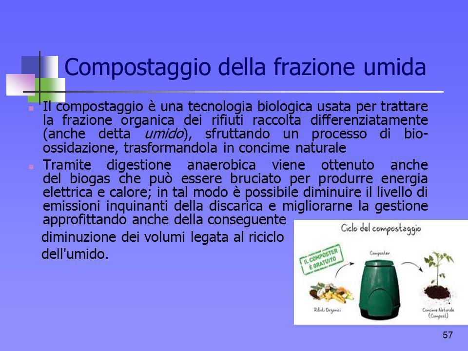 Compostaggio della frazione umida Il compostaggio è una tecnologia biologica usata per trattare la frazione organica dei rifiuti raccolta differenziat