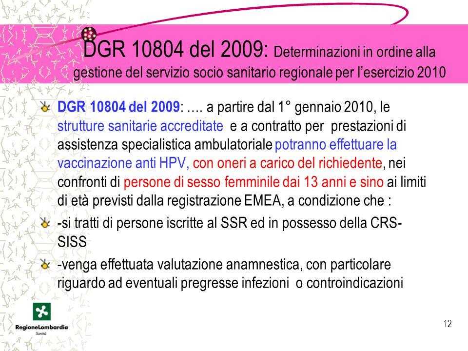 DGR 10804 del 2009: Determinazioni in ordine alla gestione del servizio socio sanitario regionale per l'esercizio 2010 DGR 10804 del 2009 : ….