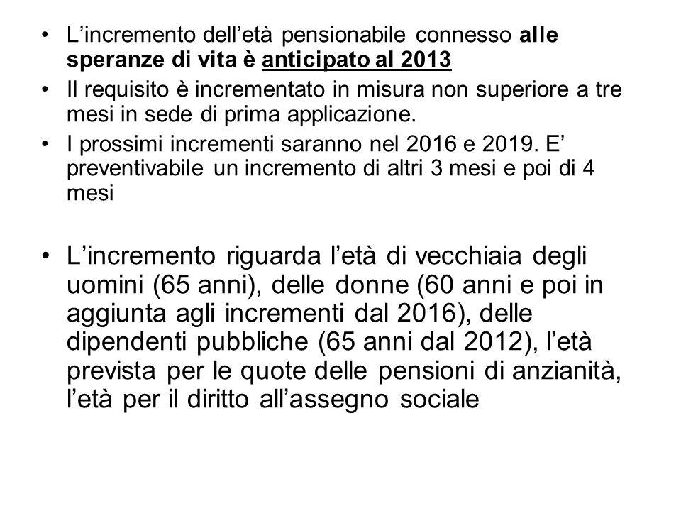 L'incremento dell'età pensionabile connesso alle speranze di vita è anticipato al 2013 Il requisito è incrementato in misura non superiore a tre mesi