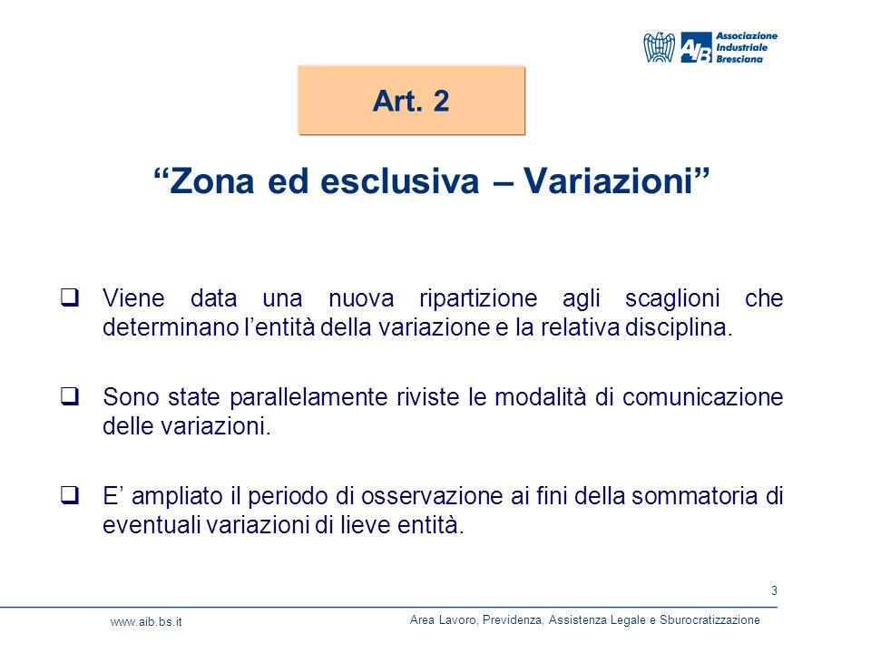 3 www.aib.bs.it Zona ed esclusiva – Variazioni  Viene data una nuova ripartizione agli scaglioni che determinano l'entità della variazione e la relativa disciplina.