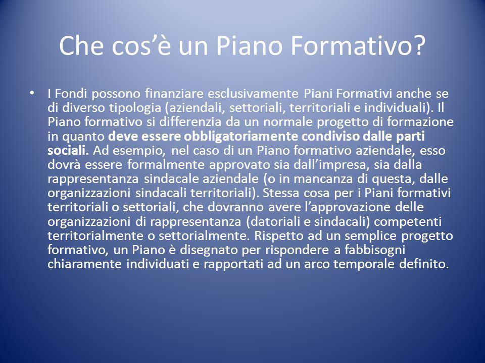 Che cos'è un Piano Formativo? I Fondi possono finanziare esclusivamente Piani Formativi anche se di diverso tipologia (aziendali, settoriali, territor