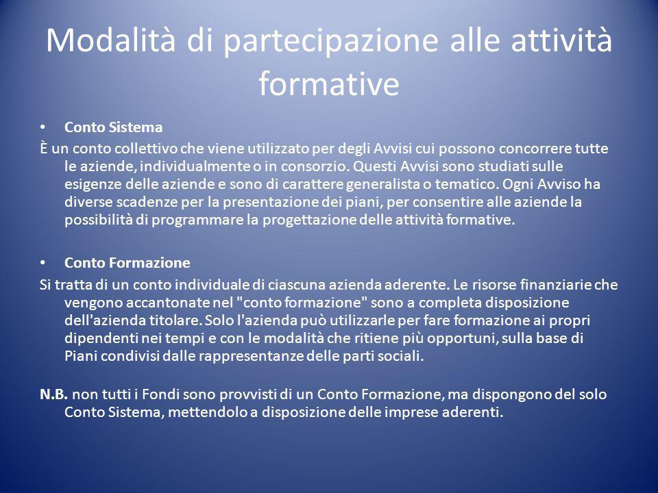 Modalità di partecipazione alle attività formative Conto Sistema È un conto collettivo che viene utilizzato per degli Avvisi cui possono concorrere tu