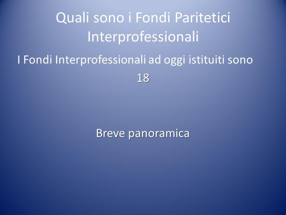 Quali sono i Fondi Paritetici Interprofessionali I Fondi Interprofessionali ad oggi istituiti sono18 Breve panoramica