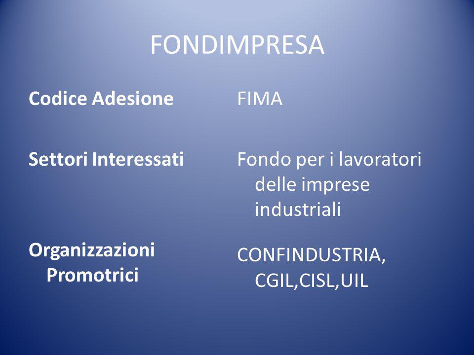 FONDIMPRESA Codice Adesione Settori Interessati Organizzazioni Promotrici FIMA Fondo per i lavoratori delle imprese industriali CONFINDUSTRIA, CGIL,CI