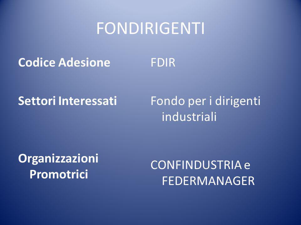 FONDIRIGENTI Codice Adesione Settori Interessati Organizzazioni Promotrici FDIR Fondo per i dirigenti industriali CONFINDUSTRIA e FEDERMANAGER