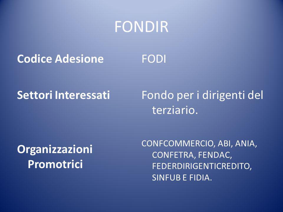 FONDIR Codice Adesione Settori Interessati Organizzazioni Promotrici FODI Fondo per i dirigenti del terziario. CONFCOMMERCIO, ABI, ANIA, CONFETRA, FEN