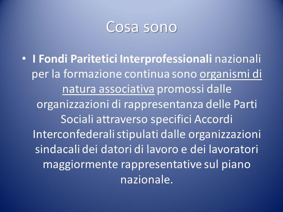 Cosa sono I Fondi Paritetici Interprofessionali nazionali per la formazione continua sono organismi di natura associativa promossi dalle organizzazion