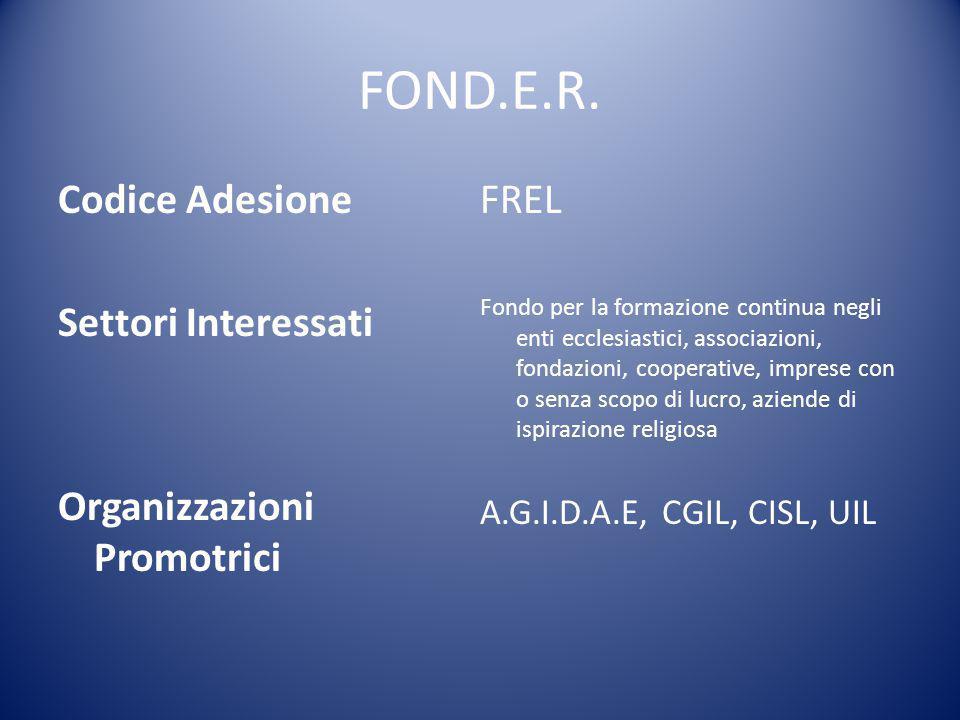 FOND.E.R. Codice Adesione Settori Interessati Organizzazioni Promotrici FREL Fondo per la formazione continua negli enti ecclesiastici, associazioni,