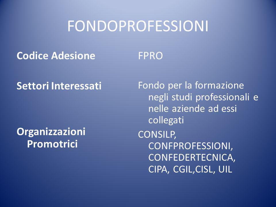 FONDOPROFESSIONI Codice Adesione Settori Interessati Organizzazioni Promotrici FPRO Fondo per la formazione negli studi professionali e nelle aziende