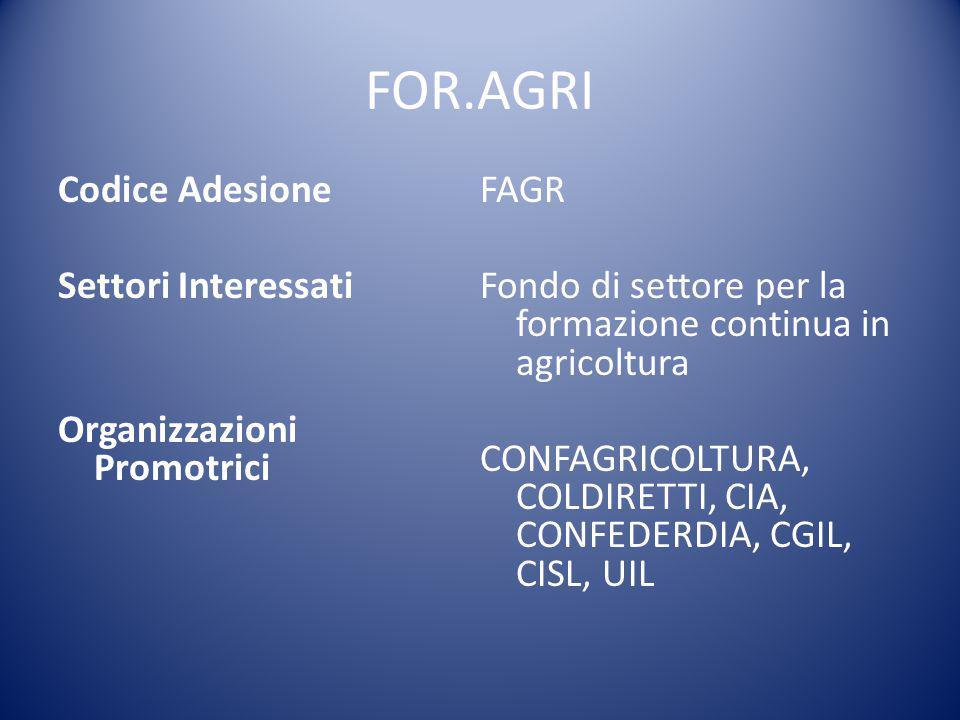 FOR.AGRI Codice Adesione Settori Interessati Organizzazioni Promotrici FAGR Fondo di settore per la formazione continua in agricoltura CONFAGRICOLTURA