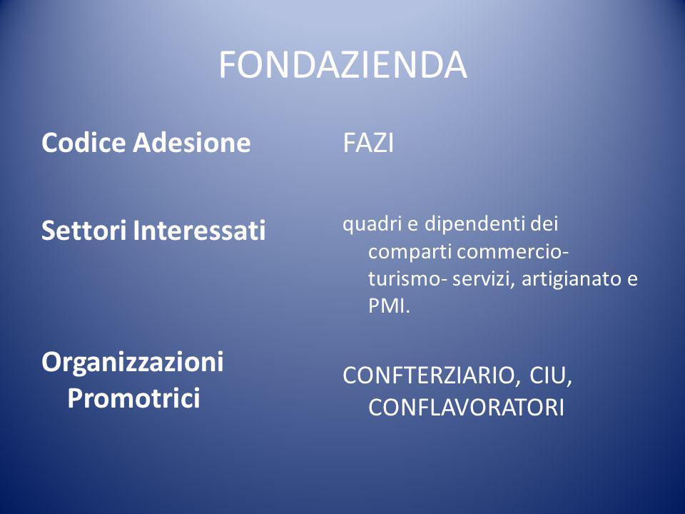 FONDAZIENDA Codice Adesione Settori Interessati Organizzazioni Promotrici FAZI quadri e dipendenti dei comparti commercio- turismo- servizi, artigiana
