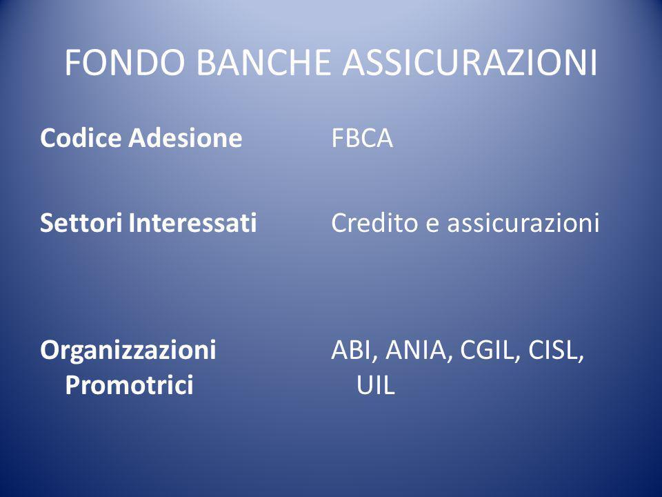FONDO BANCHE ASSICURAZIONI Codice Adesione Settori Interessati Organizzazioni Promotrici FBCA Credito e assicurazioni ABI, ANIA, CGIL, CISL, UIL