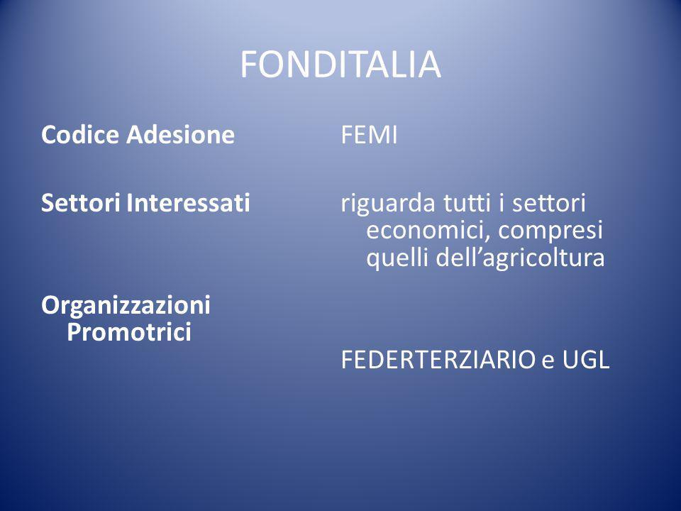 FONDITALIA Codice Adesione Settori Interessati Organizzazioni Promotrici FEMI riguarda tutti i settori economici, compresi quelli dell'agricoltura FED