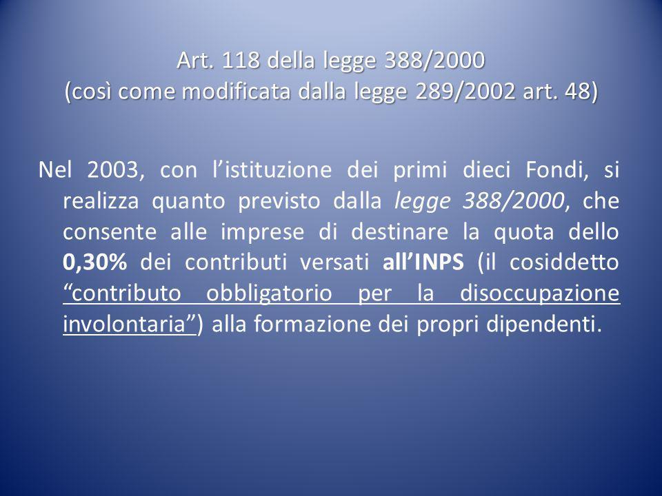 Art. 118 della legge 388/2000 (così come modificata dalla legge 289/2002 art. 48) Nel 2003, con l'istituzione dei primi dieci Fondi, si realizza quant