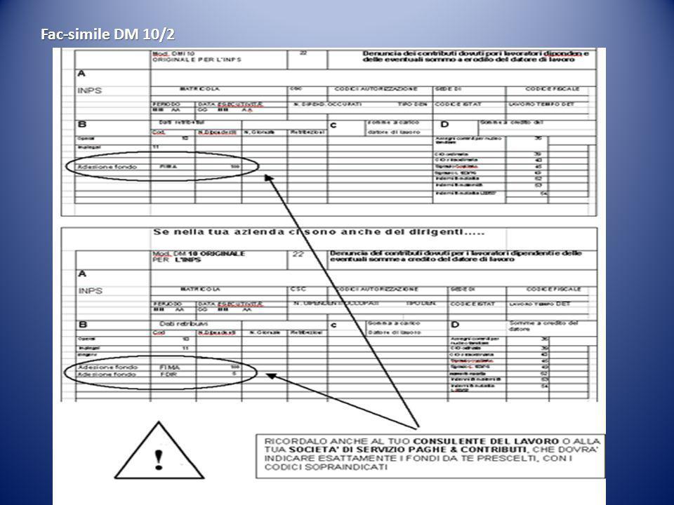 I datori di lavoro interessati, dovranno indicare, in una delle righe in bianco dei quadri B e C del modello DM10/2, il Fondo al quale intende aderire.