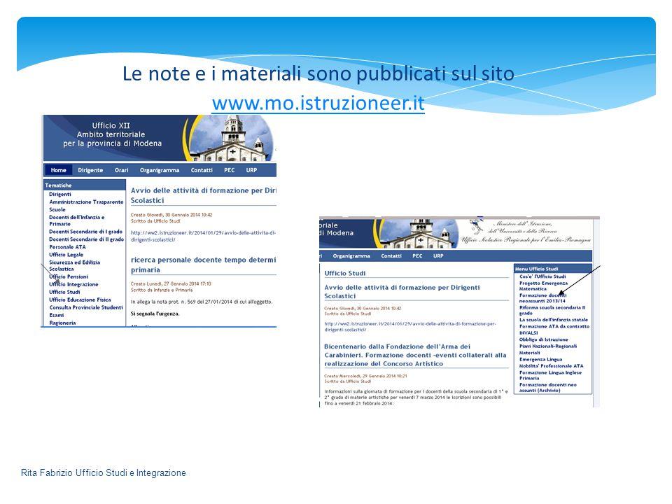 Le note e i materiali sono pubblicati sul sito www.mo.istruzioneer.it